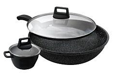 Shogun Marble 30cm Wok w/ glass lid & 16cm Casserole +  Daimaru 20cm frypan plus & 24cm frypan with IH + FREE K-Essentials Silicone Turner