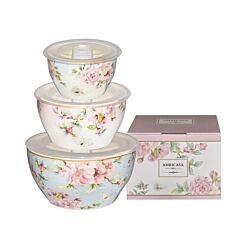 3pcs Bowl With Lid - Spring Floral