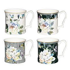 4pcs Mug Set - Turquoise Floral