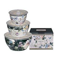 3pcs Bowl With Lid -Turquoise Floral